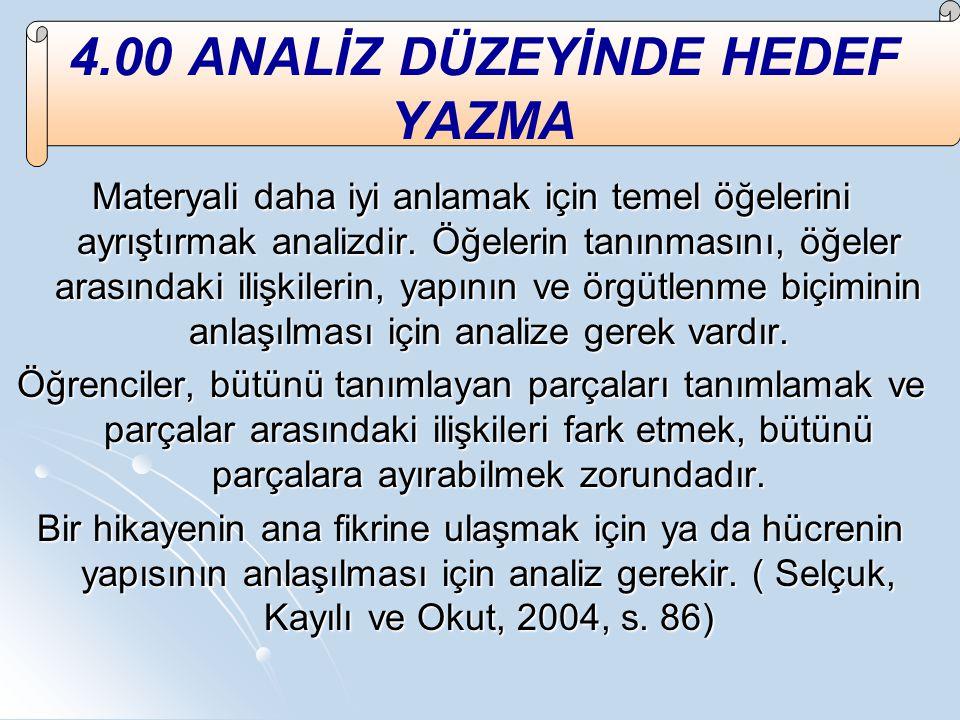 4.00 ANALİZ DÜZEYİNDE HEDEF YAZMA