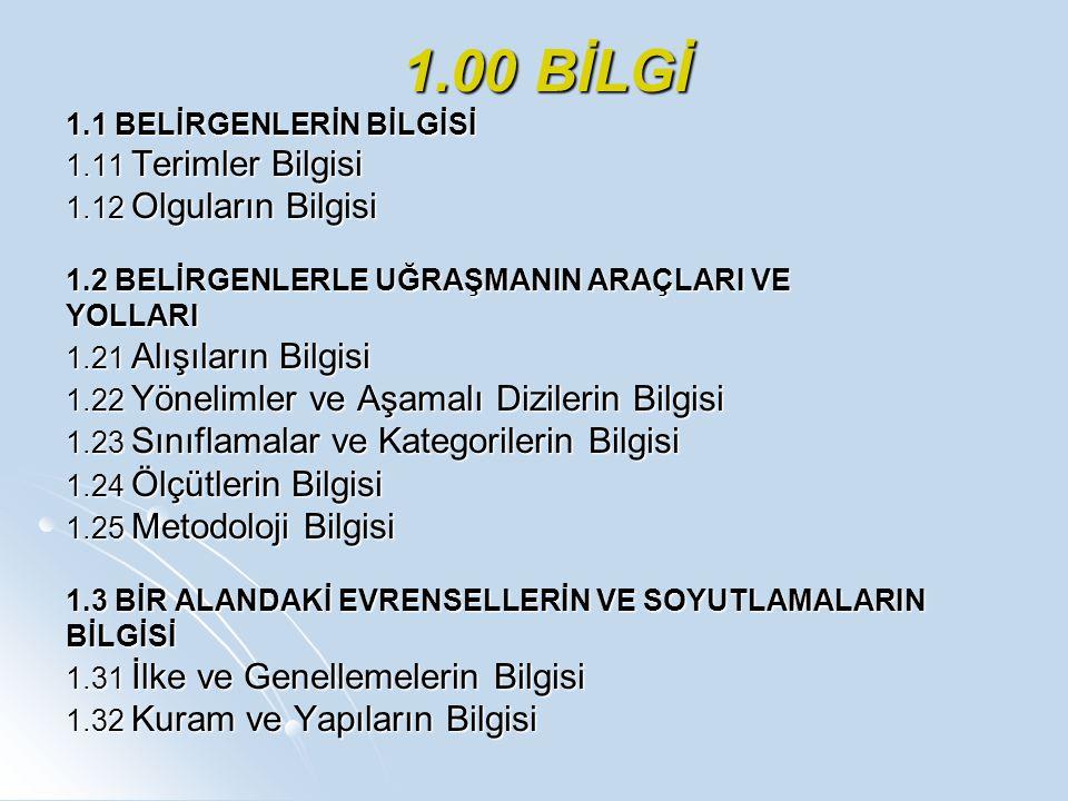 1.00 BİLGİ 1.1 BELİRGENLERİN BİLGİSİ 1.11 Terimler Bilgisi