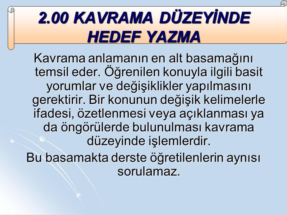 2.00 KAVRAMA DÜZEYİNDE HEDEF YAZMA