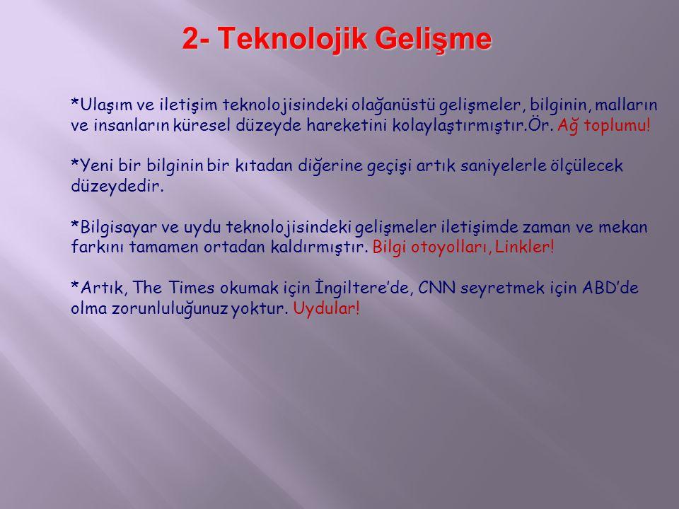 2- Teknolojik Gelişme