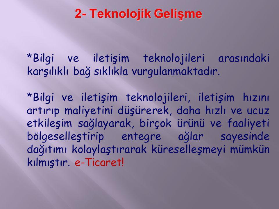 2- Teknolojik Gelişme *Bilgi ve iletişim teknolojileri arasındaki karşılıklı bağ sıklıkla vurgulanmaktadır.