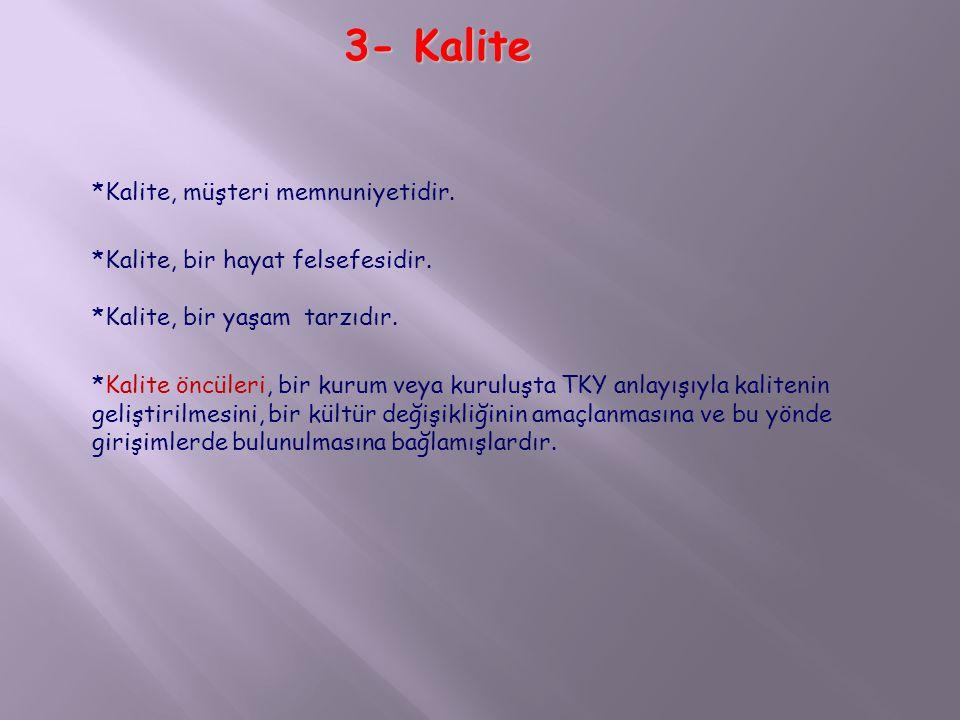 3- Kalite *Kalite, müşteri memnuniyetidir.