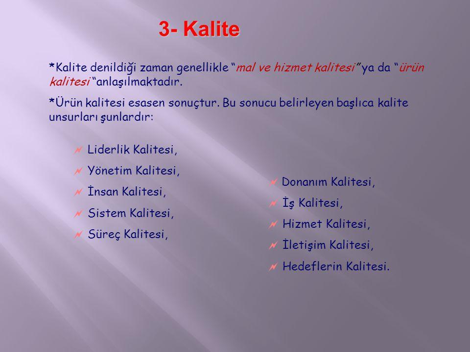 3- Kalite *Kalite denildiği zaman genellikle mal ve hizmet kalitesi ya da ürün kalitesi anlaşılmaktadır.
