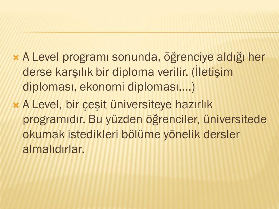 A Level programı sonunda, öğrenciye aldığı her derse karşılık bir diploma verilir. (İletişim diploması, ekonomi diploması,...)