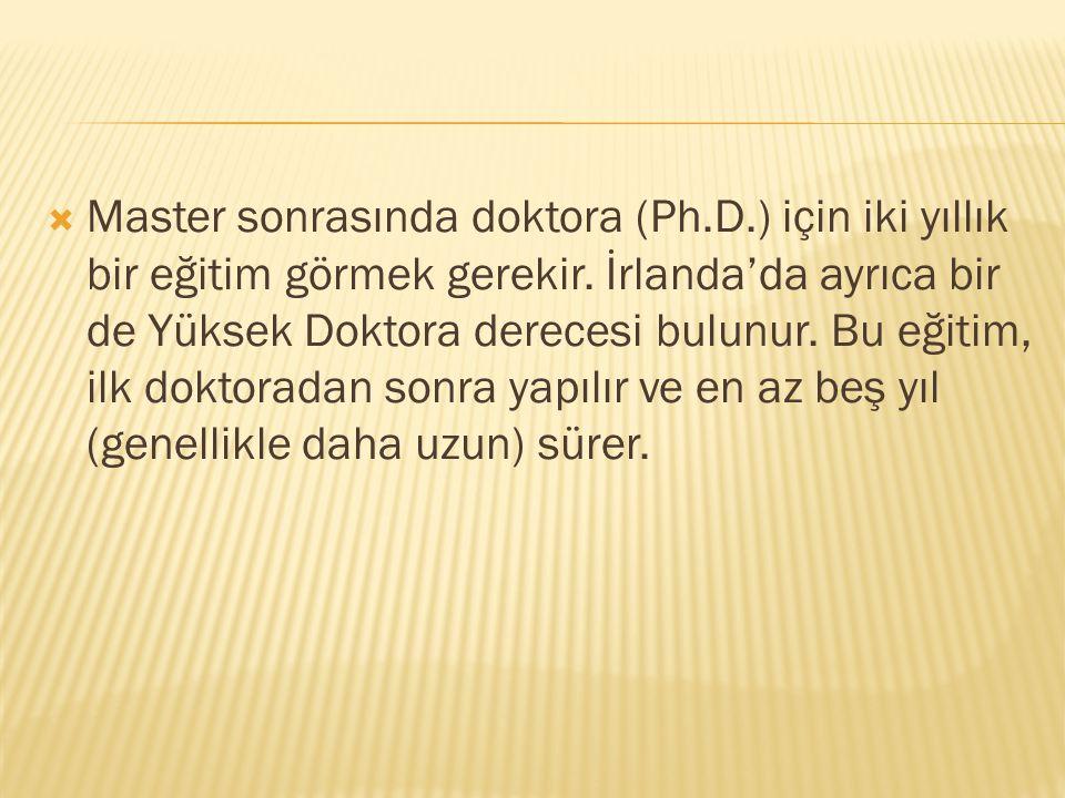 Master sonrasında doktora (Ph. D