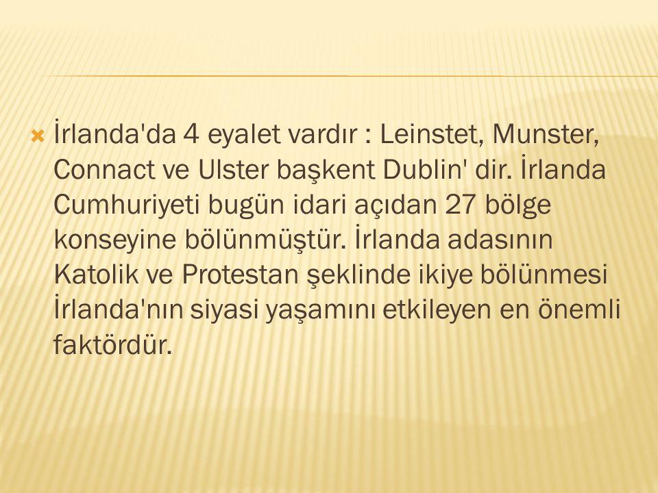 İrlanda da 4 eyalet vardır : Leinstet, Munster, Connact ve Ulster başkent Dublin dir.