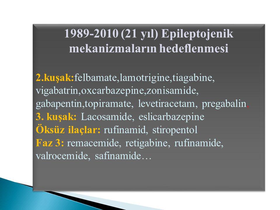1989-2010 (21 yıl) Epileptojenik mekanizmaların hedeflenmesi