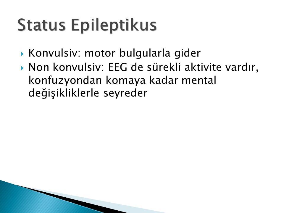 Status Epileptikus Konvulsiv: motor bulgularla gider