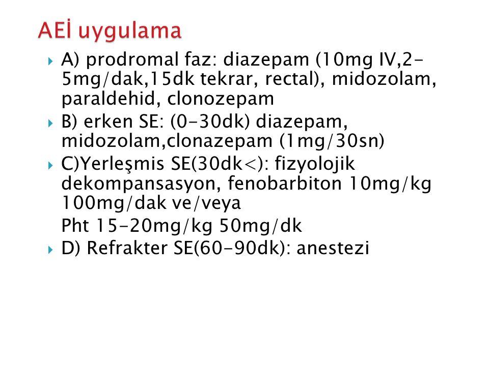 AEİ uygulama A) prodromal faz: diazepam (10mg IV,2- 5mg/dak,15dk tekrar, rectal), midozolam, paraldehid, clonozepam.