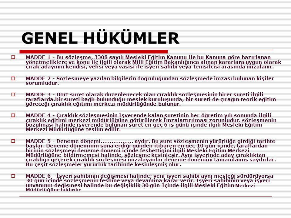 GENEL HÜKÜMLER