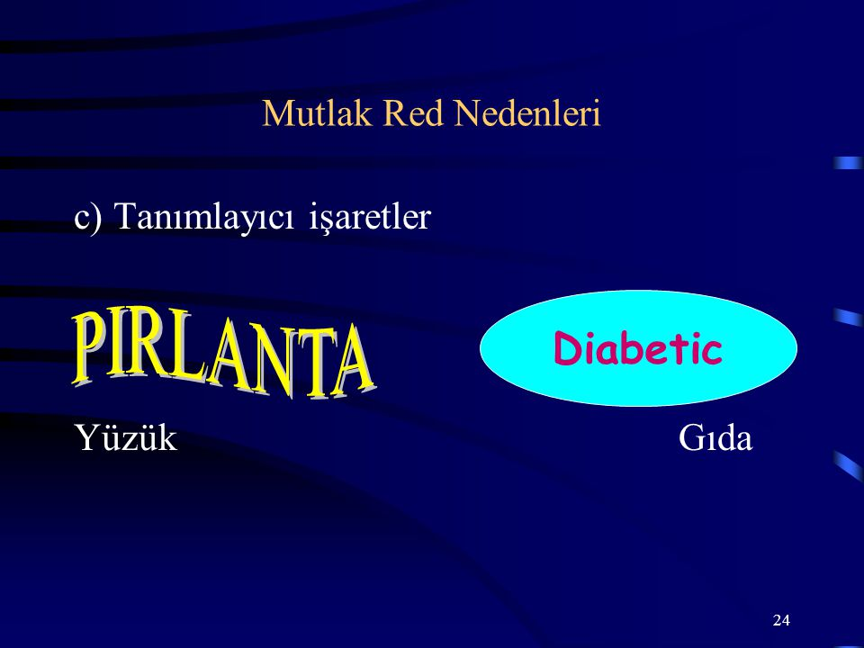 Diabetic PIRLANTA Mutlak Red Nedenleri c) Tanımlayıcı işaretler