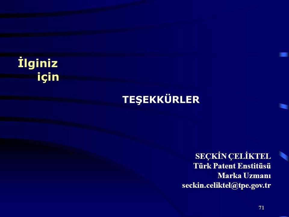 İlginiz için TEŞEKKÜRLER SEÇKİN ÇELİKTEL Türk Patent Enstitüsü