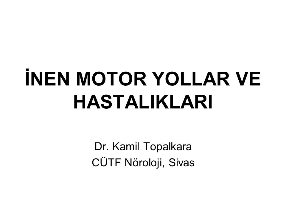 İNEN MOTOR YOLLAR VE HASTALIKLARI
