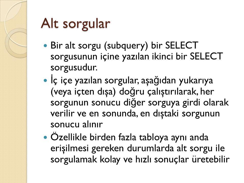 Alt sorgular Bir alt sorgu (subquery) bir SELECT sorgusunun içine yazılan ikinci bir SELECT sorgusudur.