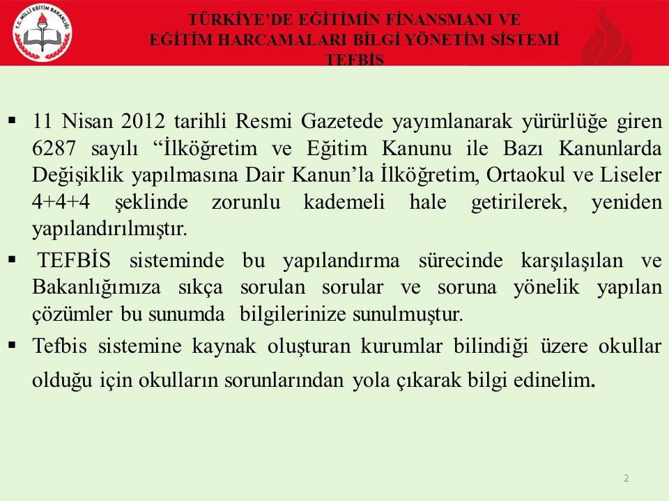 TÜRKİYE'DE EĞİTİMİN FİNANSMANI VE EĞİTİM HARCAMALARI BİLGİ YÖNETİM SİSTEMİ TEFBİS