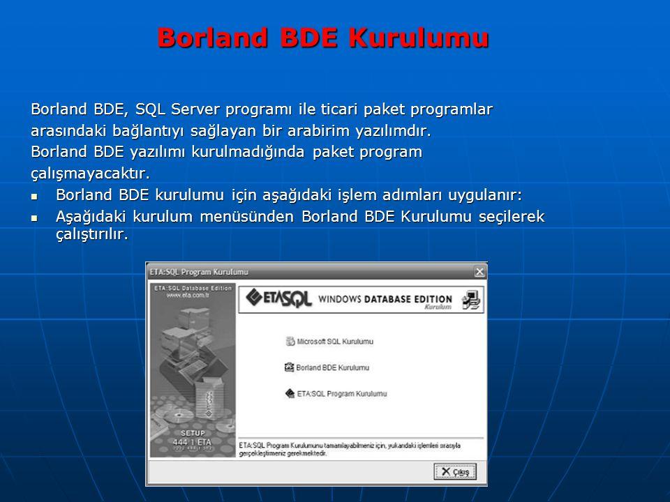 Borland BDE Kurulumu Borland BDE, SQL Server programı ile ticari paket programlar. arasındaki bağlantıyı sağlayan bir arabirim yazılımdır.