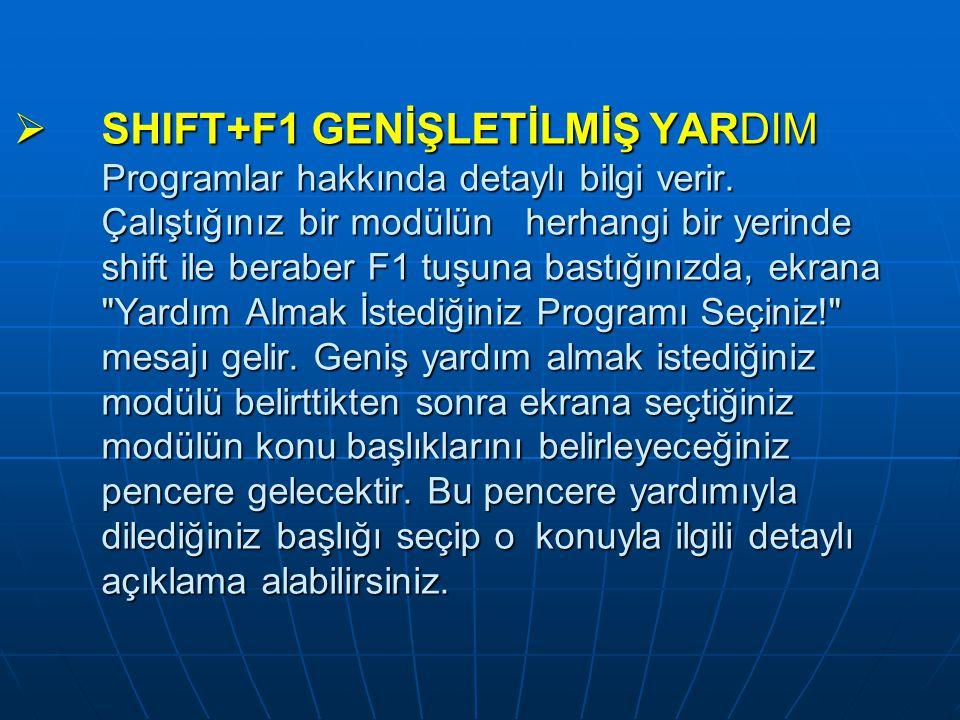 SHIFT+F1 GENİŞLETİLMİŞ YARDIM Programlar hakkında detaylı bilgi verir