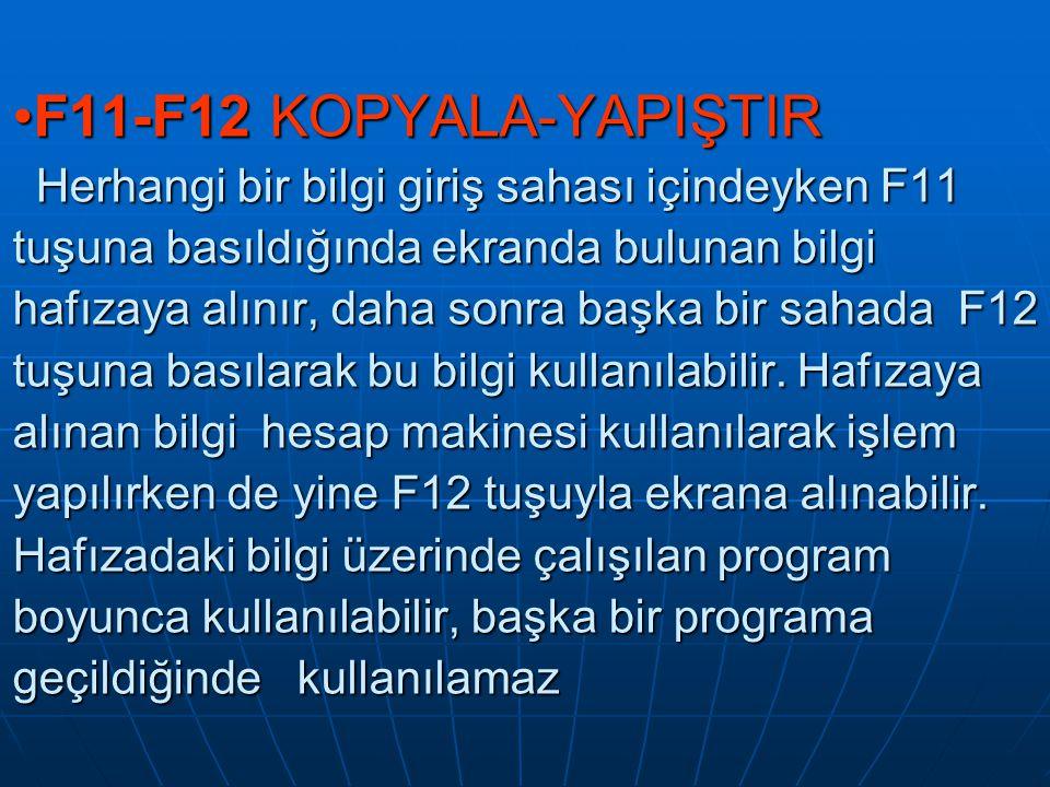 F11-F12 KOPYALA-YAPIŞTIR Herhangi bir bilgi giriş sahası içindeyken F11 tuşuna basıldığında ekranda bulunan bilgi hafızaya alınır, daha sonra başka bir sahada F12 tuşuna basılarak bu bilgi kullanılabilir.