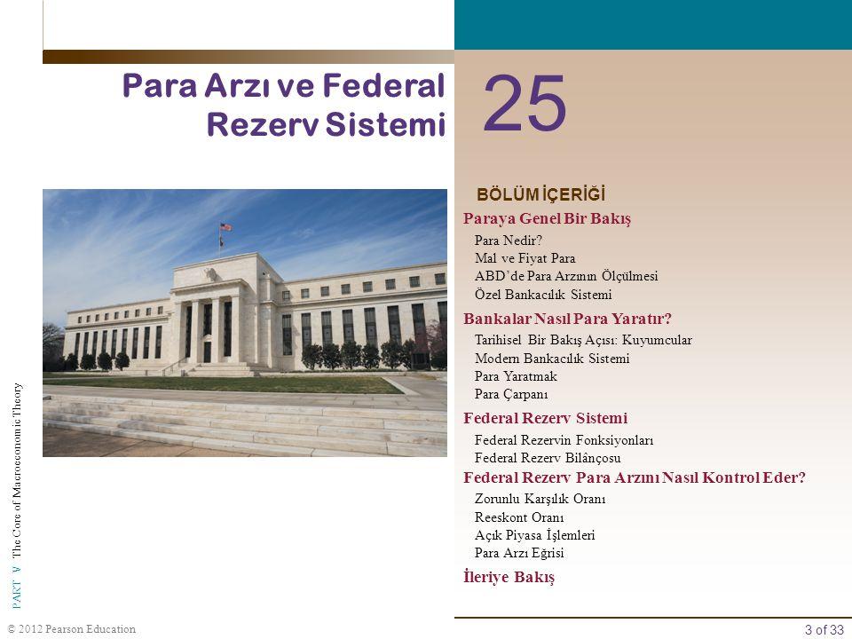 25 Para Arzı ve Federal Rezerv Sistemi BÖLÜM İÇERİĞİ