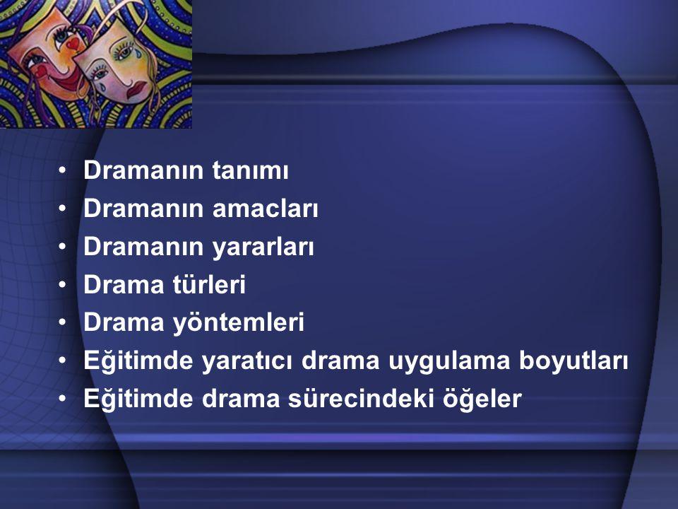 Dramanın tanımı Dramanın amacları. Dramanın yararları. Drama türleri. Drama yöntemleri. Eğitimde yaratıcı drama uygulama boyutları.