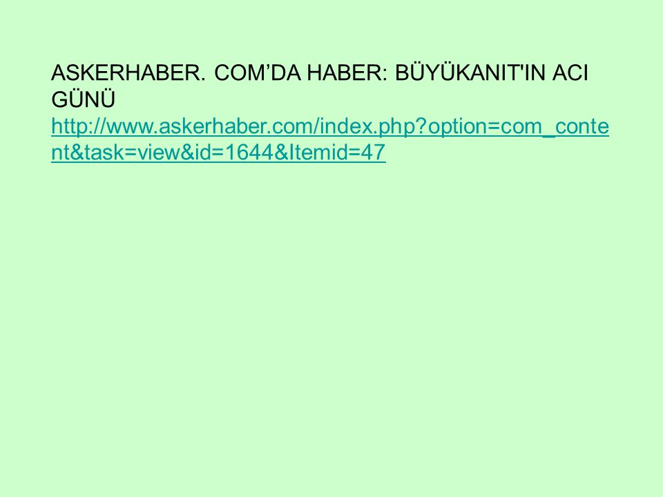 ASKERHABER. COM'DA HABER: BÜYÜKANIT IN ACI GÜNÜ