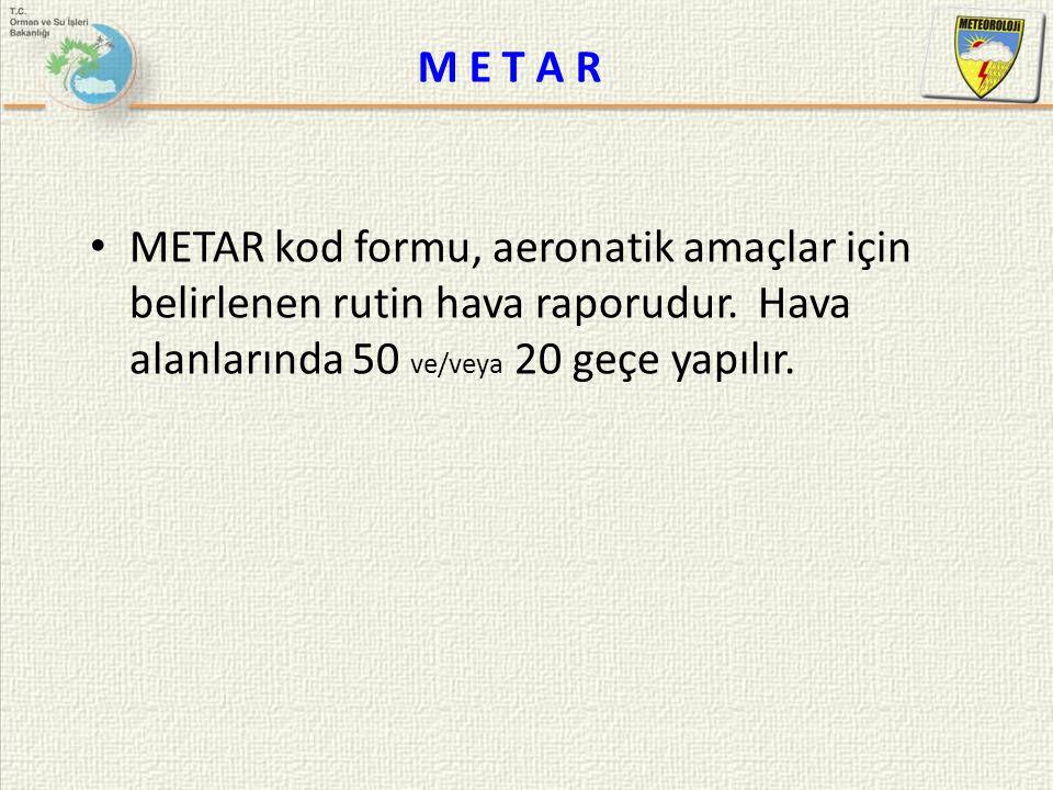 M E T A R METAR kod formu, aeronatik amaçlar için belirlenen rutin hava raporudur.