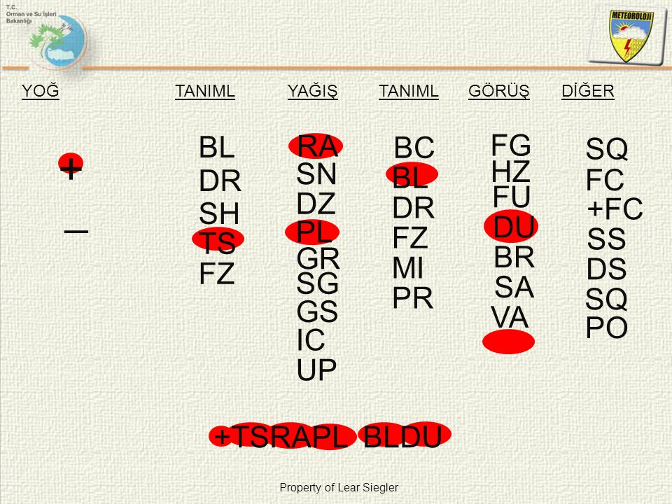 + _ BL RA FG BC SQ FU SN HZ BL DR FC DU DZ DR +FC SH PL BR FZ SS TS GR