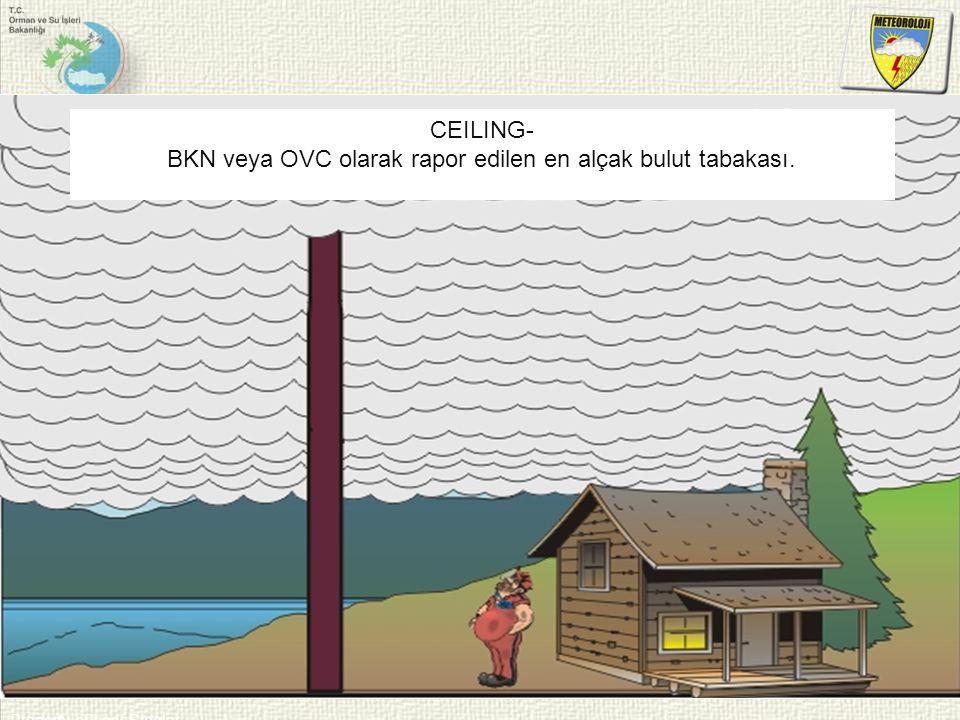 BKN veya OVC olarak rapor edilen en alçak bulut tabakası.