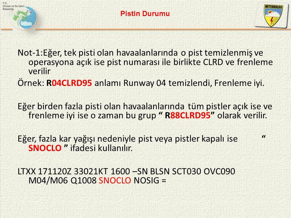 Örnek: R04CLRD95 anlamı Runway 04 temizlendi, Frenleme iyi.