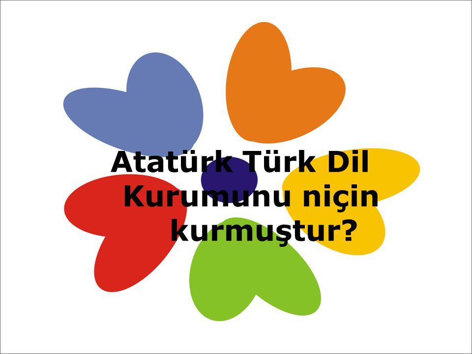 Atatürk Türk Dil Kurumunu niçin kurmuştur