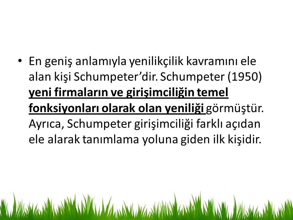 En geniş anlamıyla yenilikçilik kavramını ele alan kişi Schumpeter'dir