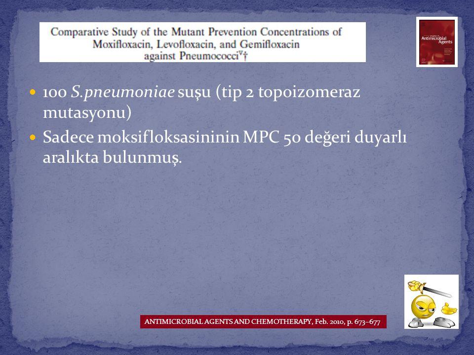 100 S.pneumoniae suşu (tip 2 topoizomeraz mutasyonu)