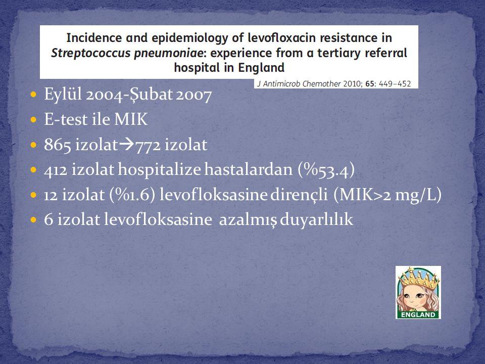 Eylül 2004-Şubat 2007 E-test ile MIK. 865 izolat772 izolat. 412 izolat hospitalize hastalardan (%53.4)