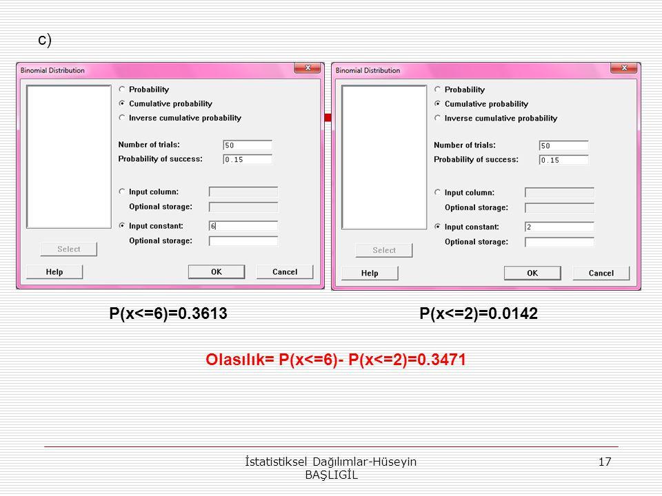 Olasılık= P(x<=6)- P(x<=2)=0.3471
