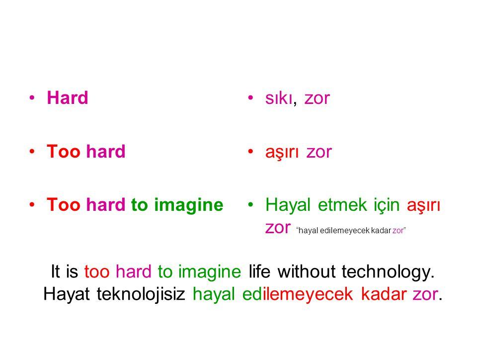 Hard Too hard. Too hard to imagine. sıkı, zor. aşırı zor. Hayal etmek için aşırı zor hayal edilemeyecek kadar zor