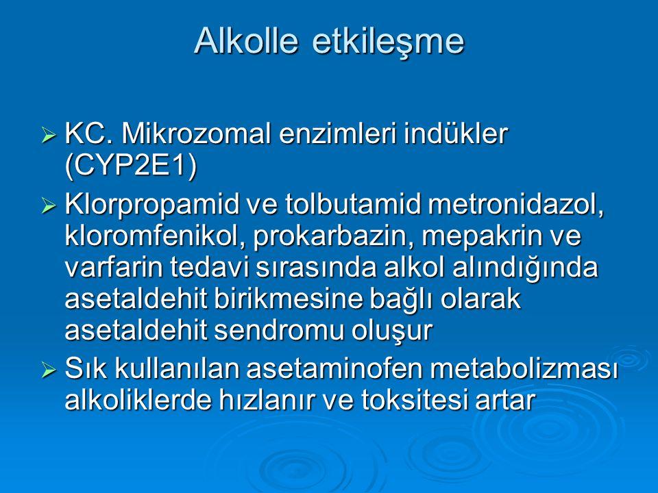 Alkolle etkileşme KC. Mikrozomal enzimleri indükler (CYP2E1)