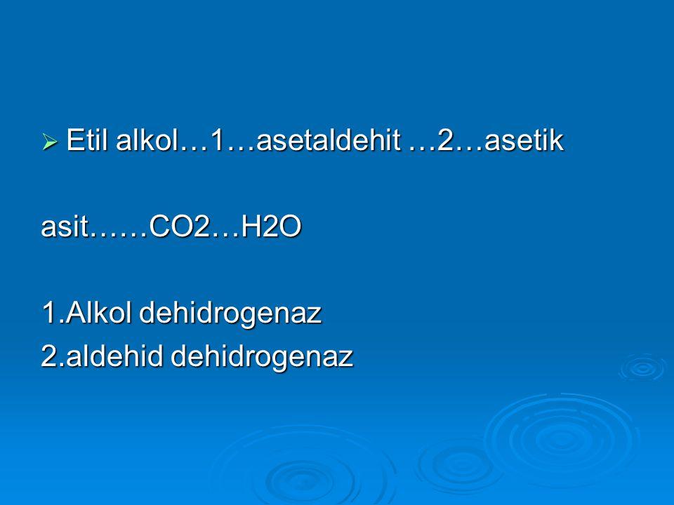 Etil alkol…1…asetaldehit …2…asetik