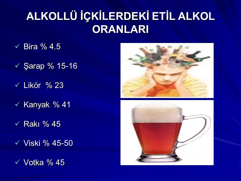 ALKOLLÜ İÇKİLERDEKİ ETİL ALKOL ORANLARI