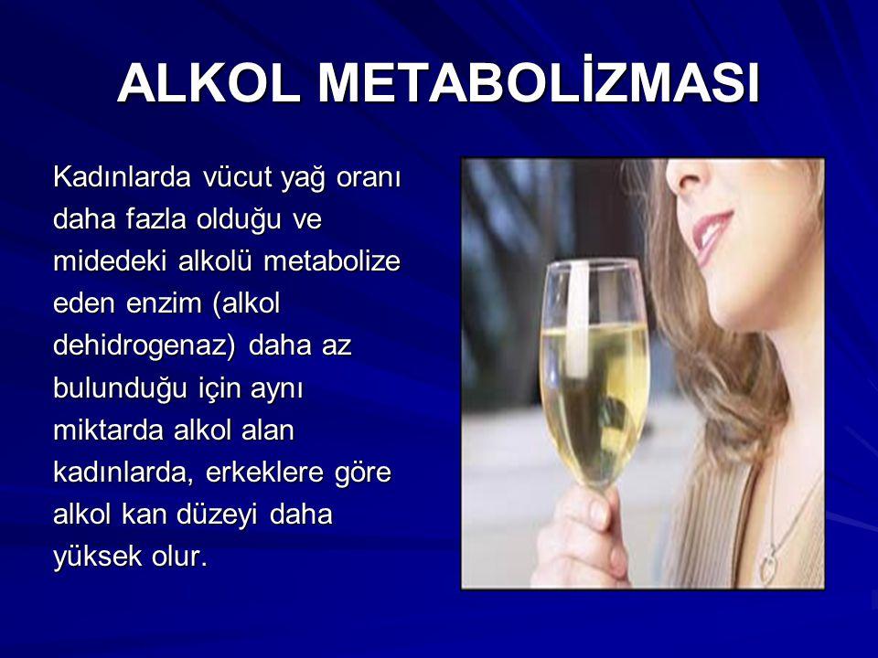 ALKOL METABOLİZMASI Kadınlarda vücut yağ oranı daha fazla olduğu ve