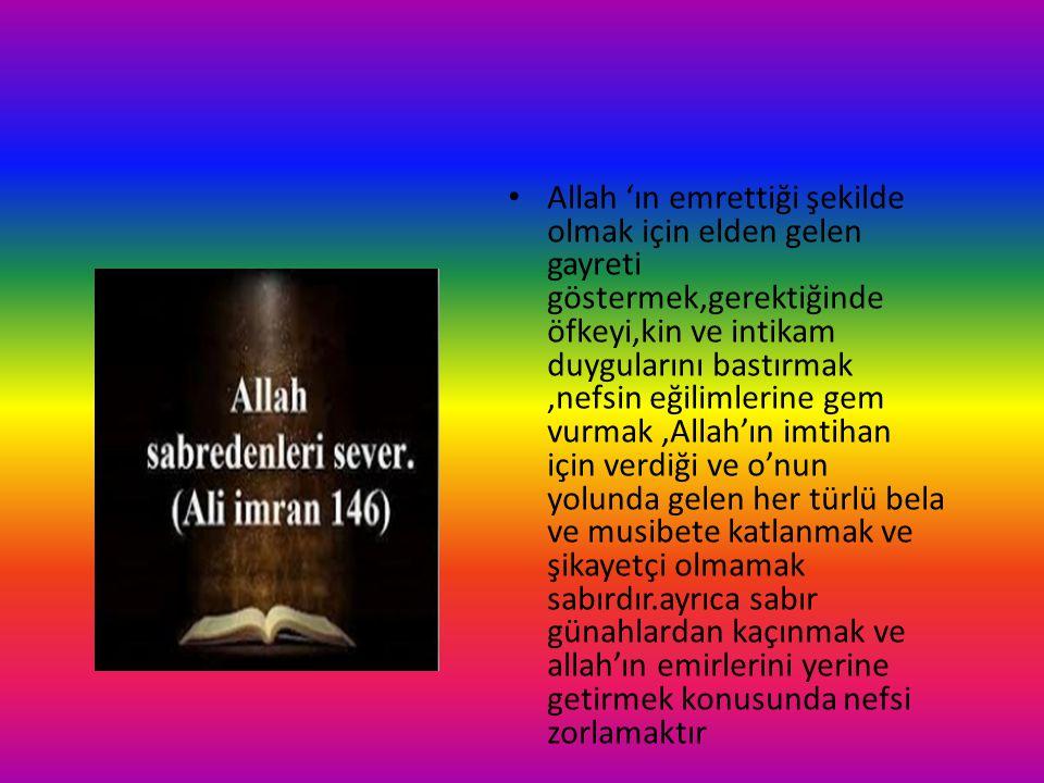 Allah 'ın emrettiği şekilde olmak için elden gelen gayreti göstermek,gerektiğinde öfkeyi,kin ve intikam duygularını bastırmak ,nefsin eğilimlerine gem vurmak ,Allah'ın imtihan için verdiği ve o'nun yolunda gelen her türlü bela ve musibete katlanmak ve şikayetçi olmamak sabırdır.ayrıca sabır günahlardan kaçınmak ve allah'ın emirlerini yerine getirmek konusunda nefsi zorlamaktır
