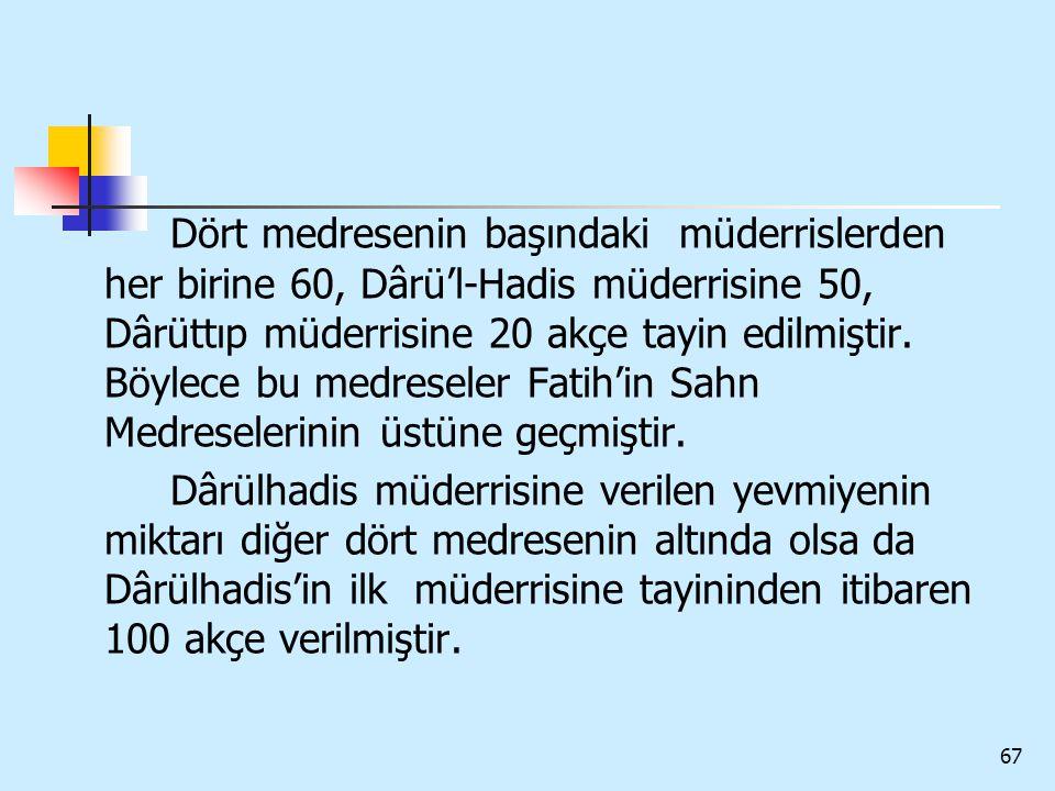Dört medresenin başındaki müderrislerden her birine 60, Dârü'l-Hadis müderrisine 50, Dârüttıp müderrisine 20 akçe tayin edilmiştir. Böylece bu medreseler Fatih'in Sahn Medreselerinin üstüne geçmiştir.
