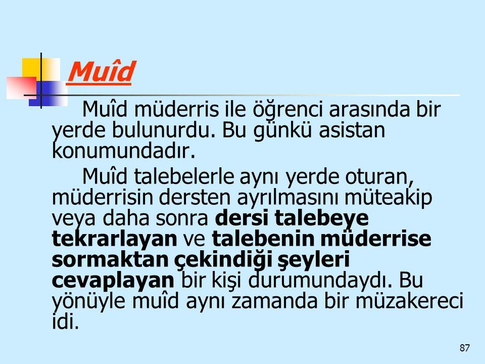 Muîd Muîd müderris ile öğrenci arasında bir yerde bulunurdu. Bu günkü asistan konumundadır.