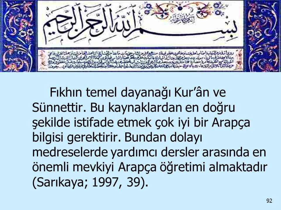 Fıkhın temel dayanağı Kur'ân ve Sünnettir