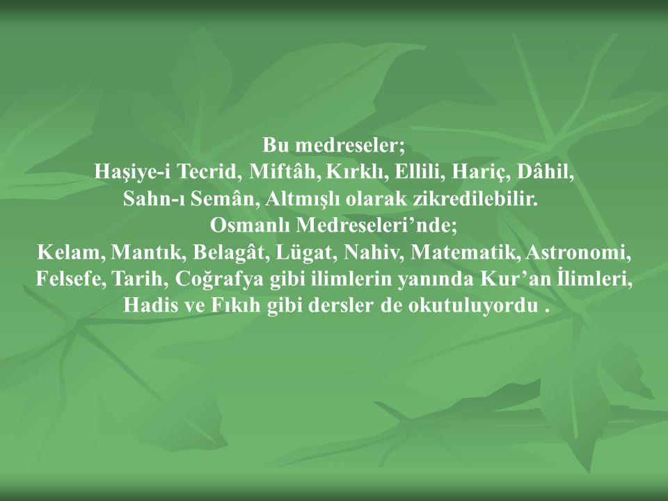 Haşiye-i Tecrid, Miftâh, Kırklı, Ellili, Hariç, Dâhil,