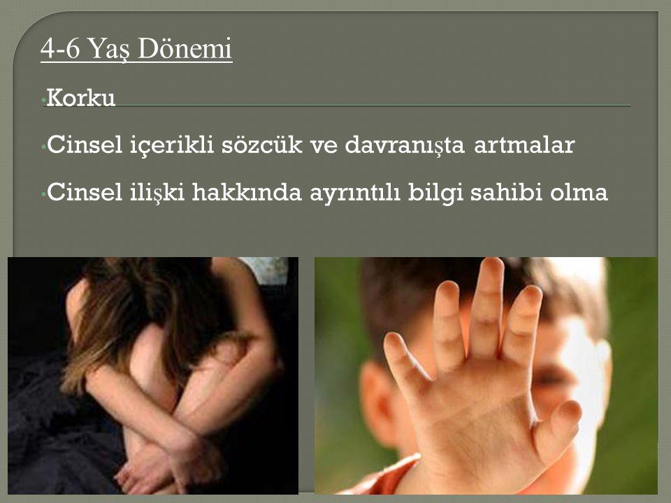 4-6 Yaş Dönemi Korku Cinsel içerikli sözcük ve davranışta artmalar