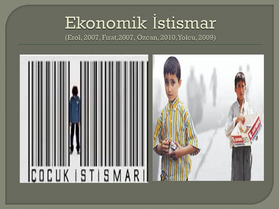 Ekonomik İstismar (Erol, 2007, Fırat,2007, Özcan, 2010, Yolcu, 2009)