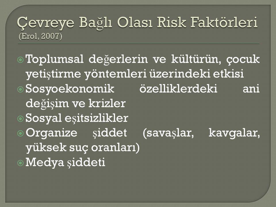 Çevreye Bağlı Olası Risk Faktörleri (Erol, 2007)