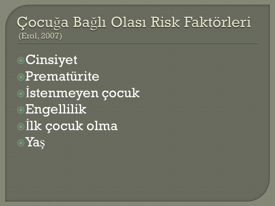 Çocuğa Bağlı Olası Risk Faktörleri (Erol, 2007)