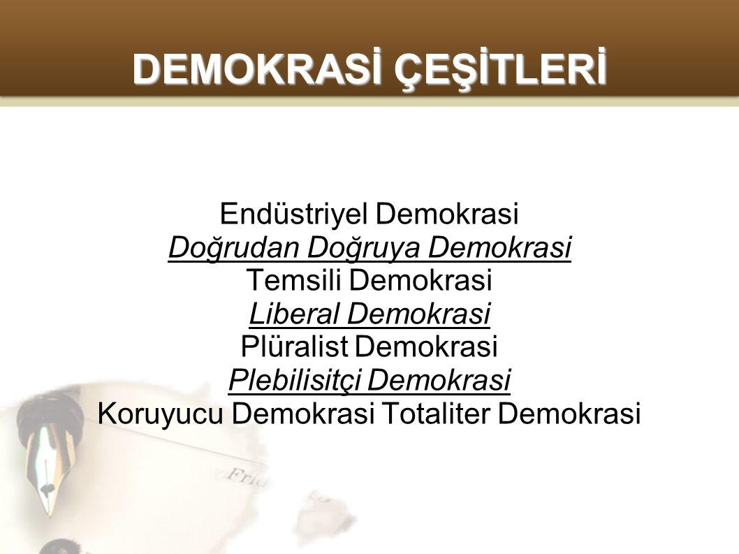 DEMOKRASİ ÇEŞİTLERİ Endüstriyel Demokrasi Doğrudan Doğruya Demokrasi