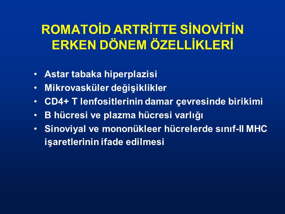 ROMATOİD ARTRİTTE SİNOVİTİN ERKEN DÖNEM ÖZELLİKLERİ